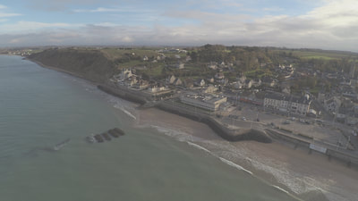 Unusual view of Arromanches and Mulberry B